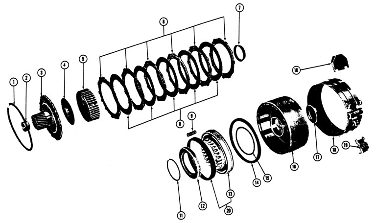 1967-68 Firebird 6 cyl. Automatic Transmission Exploded View