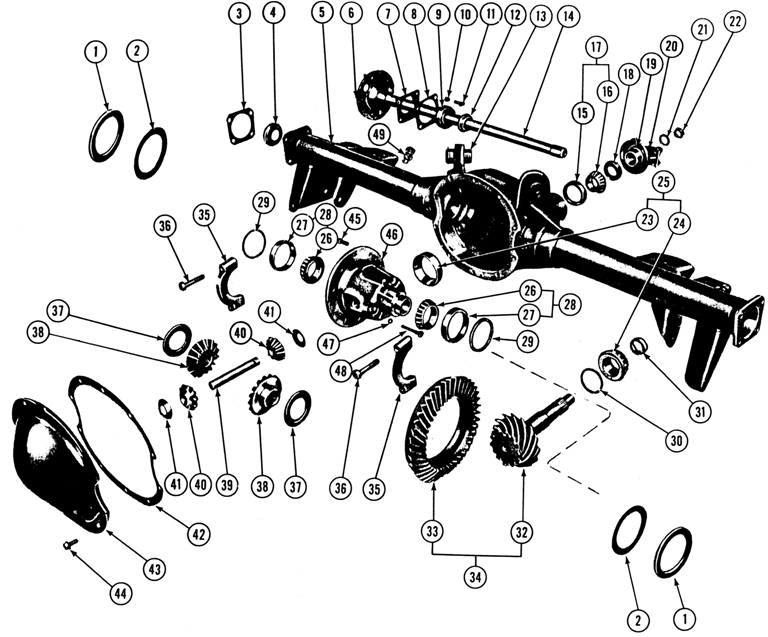 1967-70 Firebird Rear Axle, Differential Carrier & Tubes Exploded View