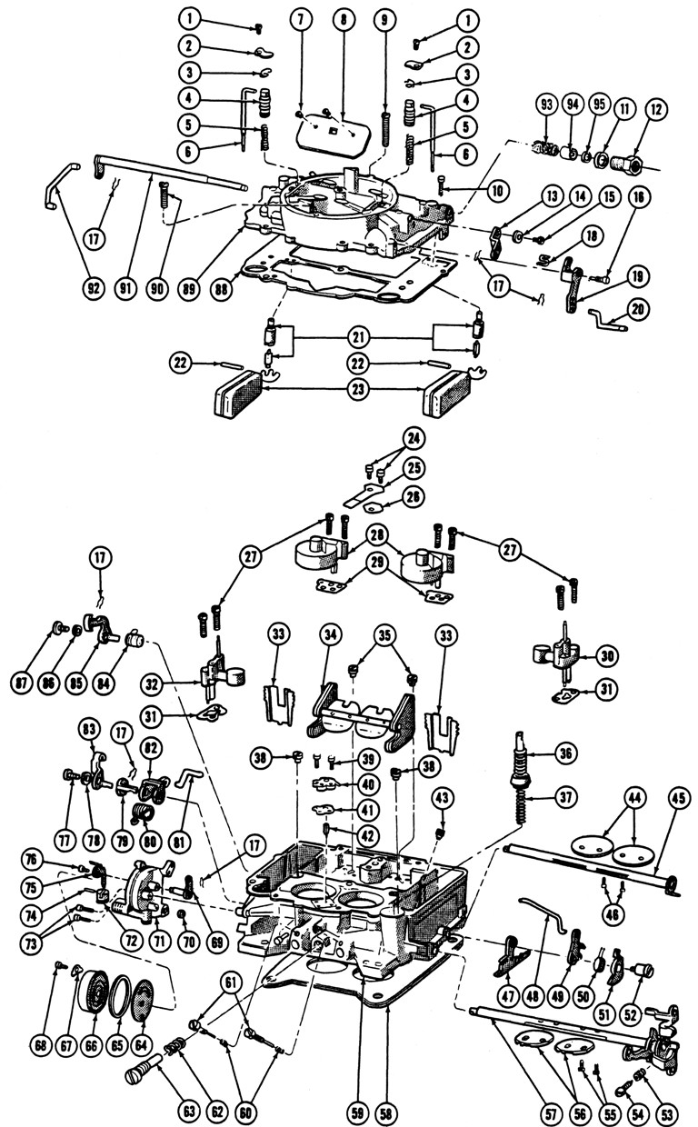 1964 67 carter 4 barrel carburetor illustrated parts break down rh tpocr com carter bbd carburetor diagram carter bbd carburetor diagram