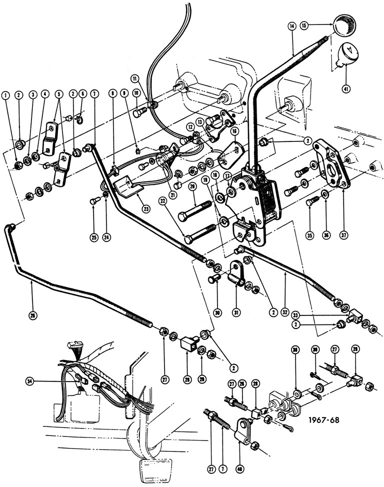 1965-68 Pontiac 4 spd. Floor Shift Controls Exploded View