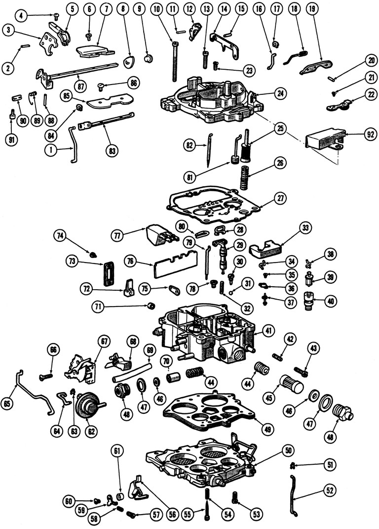 1966 69 quadrajet 4 barrel carburetor illustrated parts break down ccuart Image collections