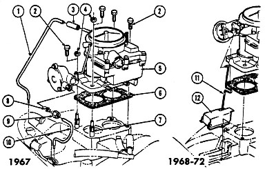 1967-69 Firebird 8Cyl. 2 & 4 Bbl. Carburetors Exploded View