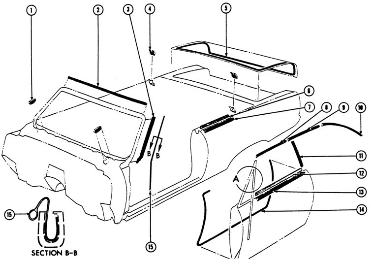 1967 69 Firebird Convertible Weather Stripping Illustrated