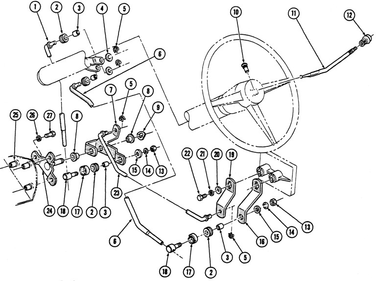 1967-69 Firebird 3 spd. Column Shift Exploded View