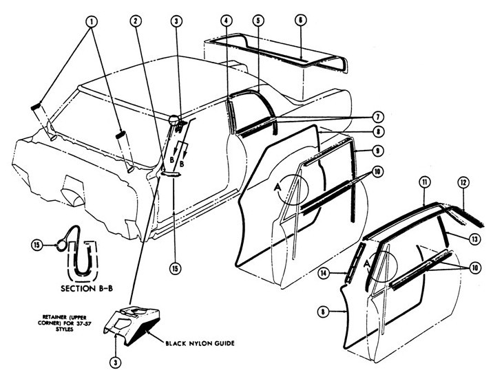 1967-69 Firebird Coupe Weather-stripping Exploded View