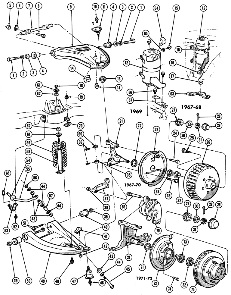 1967-72 Firebird Front Suspension Illustrated Parts Break Down