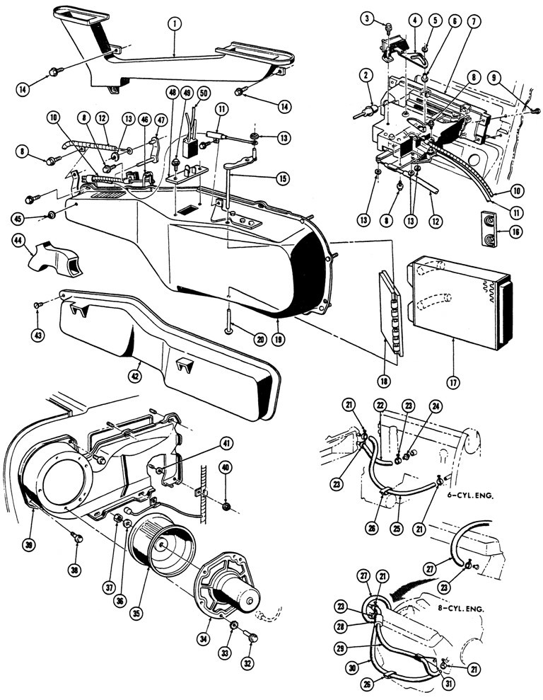 1967 68 Firebird Heater Illustrated Parts Break Down