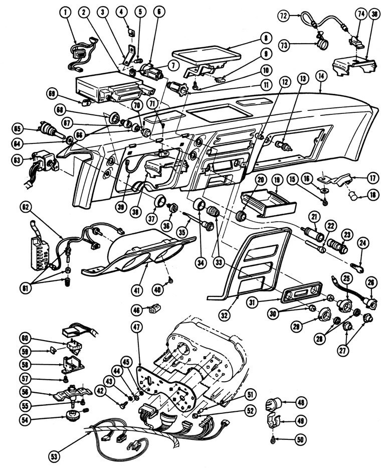 67 8fbinstrumenteleipc 1967 68 firebird instrument panel illustrated parts break down Turn Signal Wiring Diagram at gsmx.co