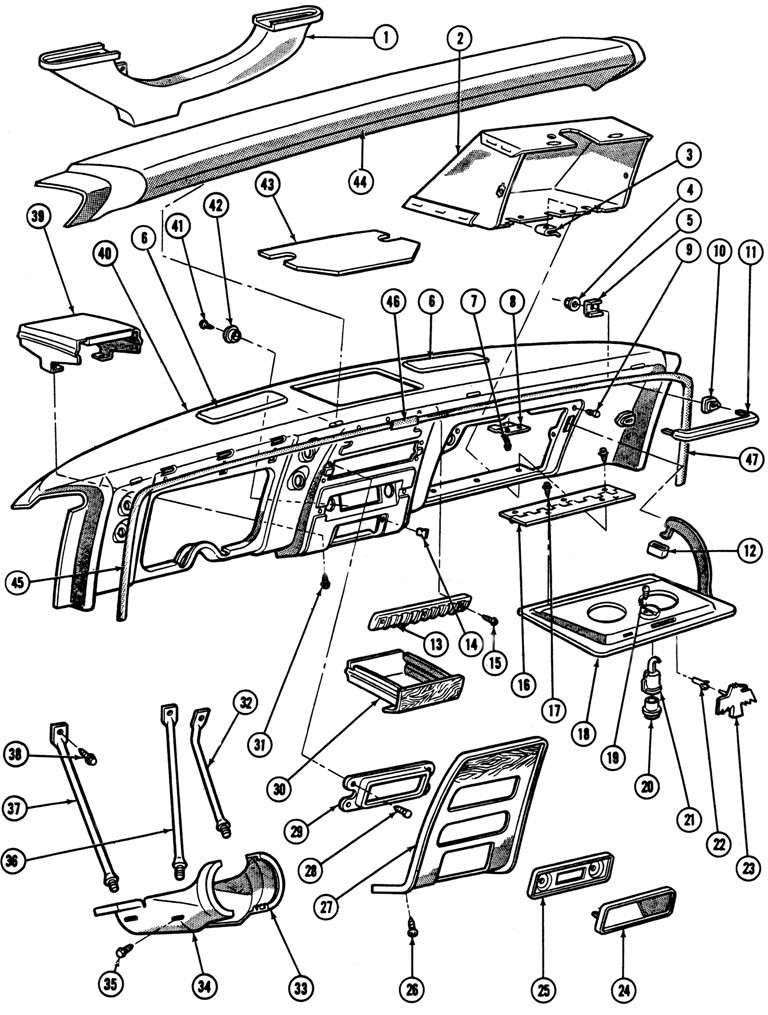 1967-68 Firebird Instrument Panel Hardware Exploded View