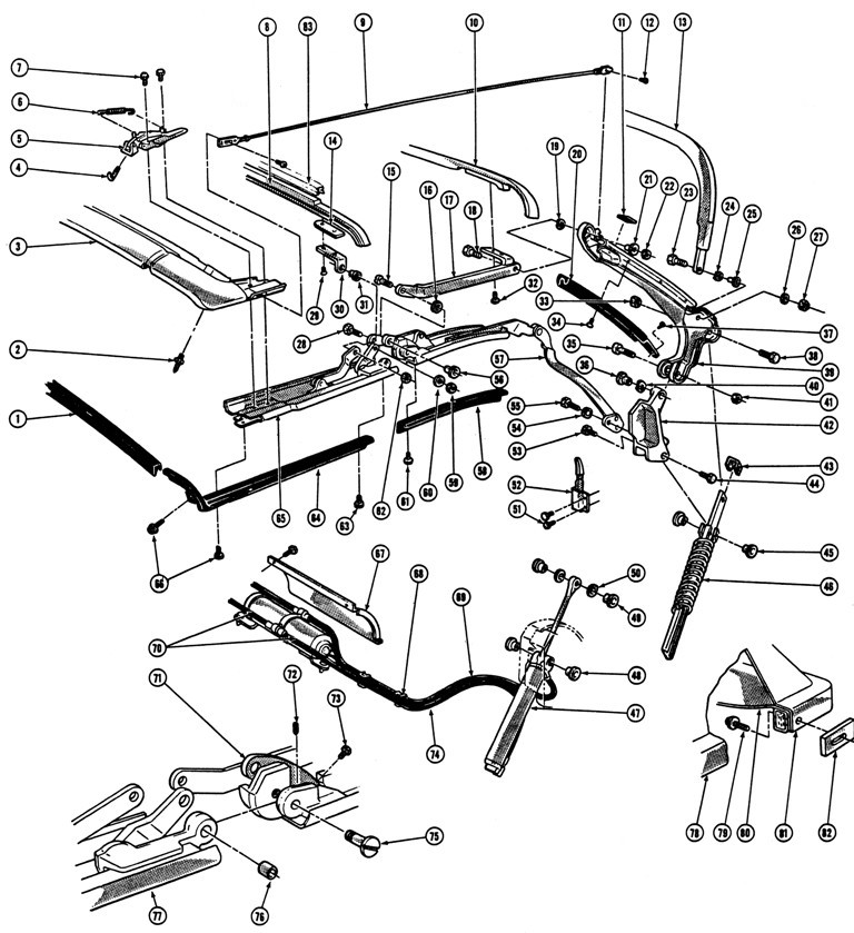 1967-69 Firebird Convertible Top Illustrated Parts Break Down