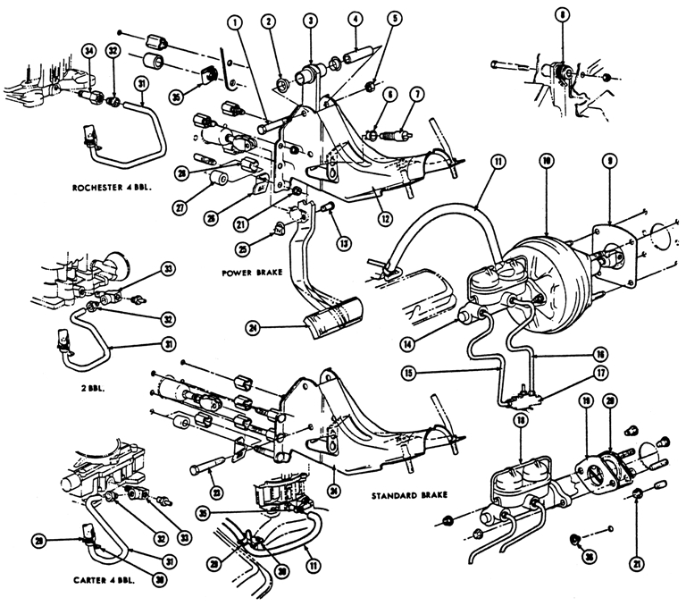 1967-70 Pontiac Brake System Exploded View