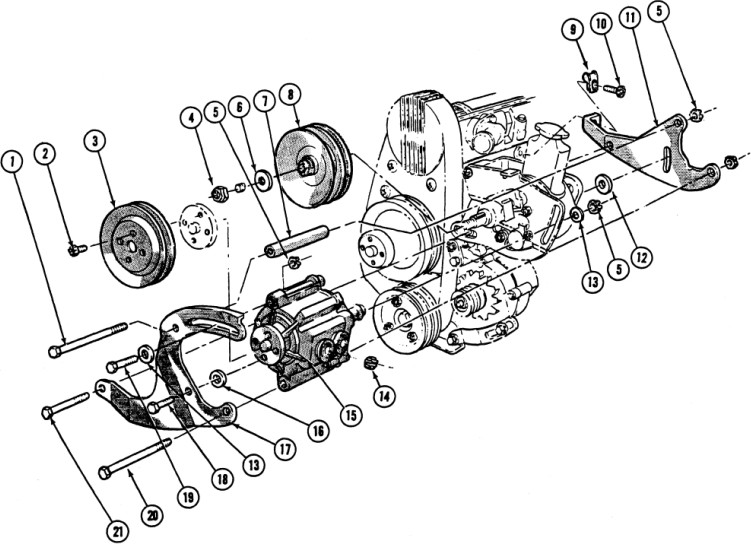 1967 Firebird 6 Cyl. Air injection Pump Installation Exploded View