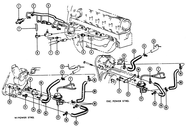 1967 Firebird 6 Cyl. Air Injection System Exploded View