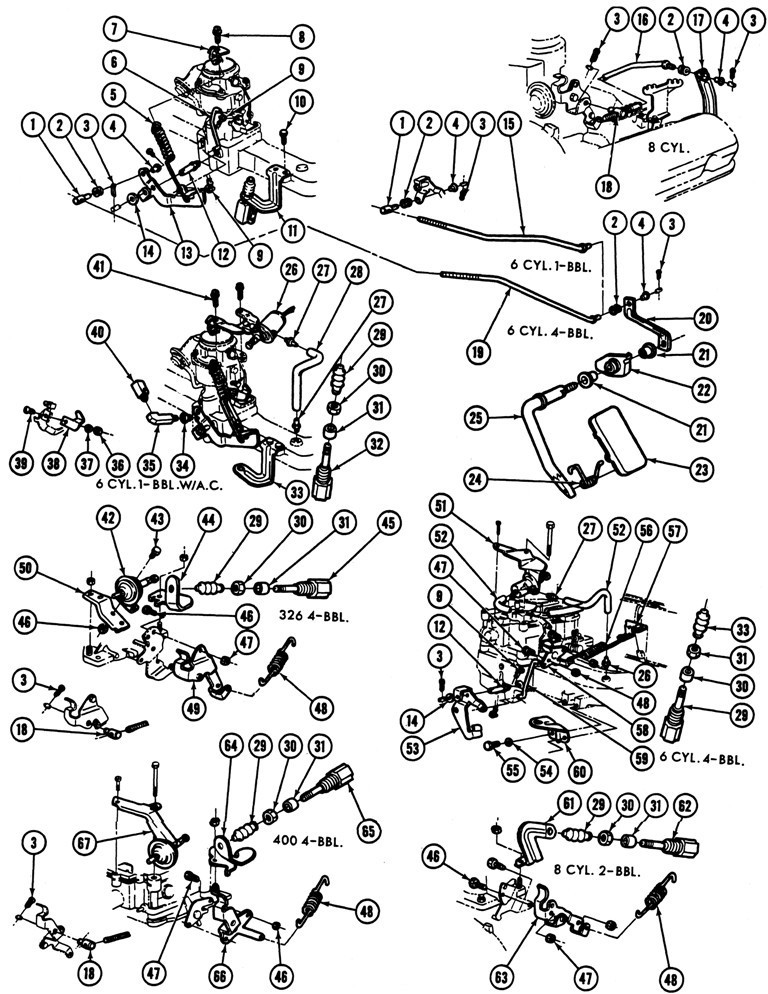 1967 Firebird Accelerator Linkage Exploded View
