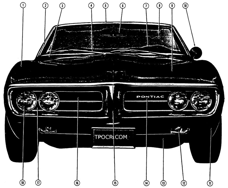 1967 Firebird Front Exterior View Exploded View