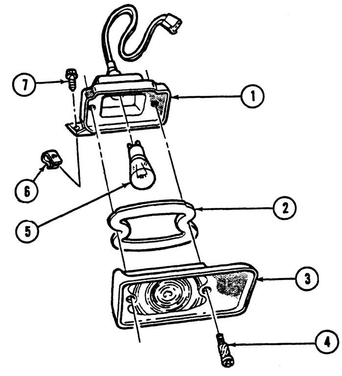 1967 Firebird Parking/Signal Light Exploded View