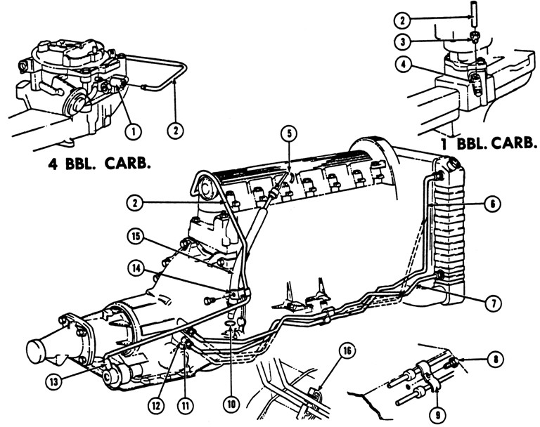 1968-69 Tempest & Firebrd 6-cyl. Oil Cooler, Oil Filler & Vacuum Pipes Exploded View