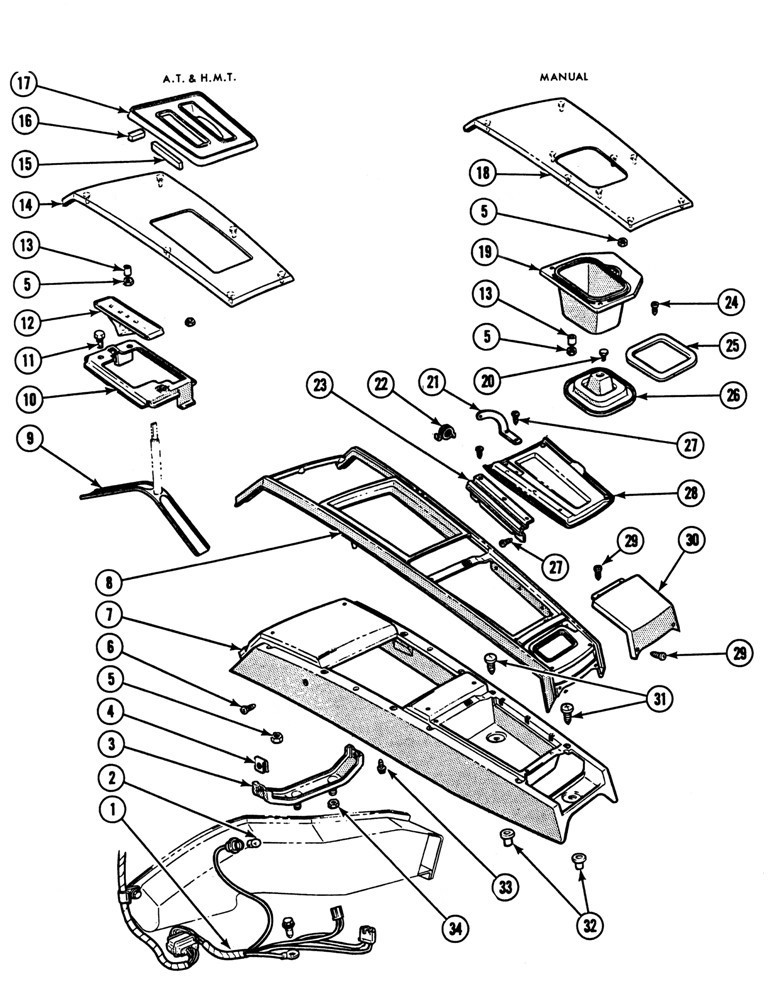 1968-69 Firebird Console Exploded View