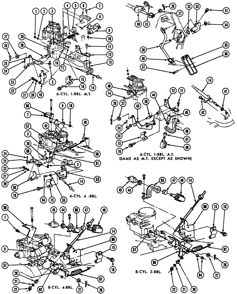 1969 Firebird Accelerator Linkage Exploded View