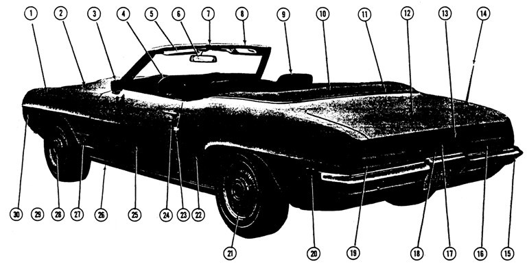 1969 Firebird Convertible L.H. Rear Exterior View Exploded View