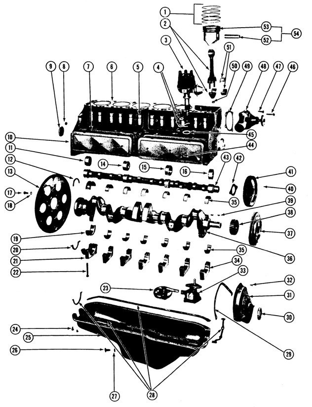 1964-65/1970-75 Pontiac 6Cyl. Block Exploded View