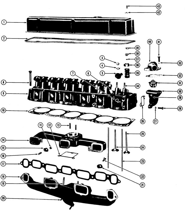 1964-65/1970-75 Pontaic 6Cyl. Head Exploded View