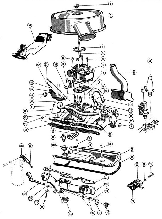 "1967-75 V8 Fuel/Exhaust (EXC. 1975 ""X"" ) Exploded View"