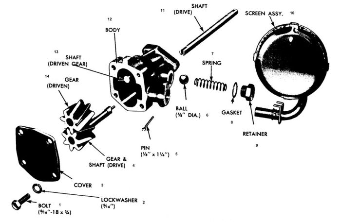 1955-75 OIL PUMP Exploded View