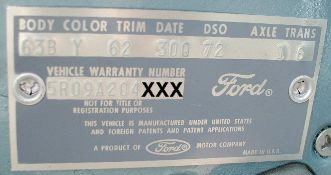 65 Ford body plate