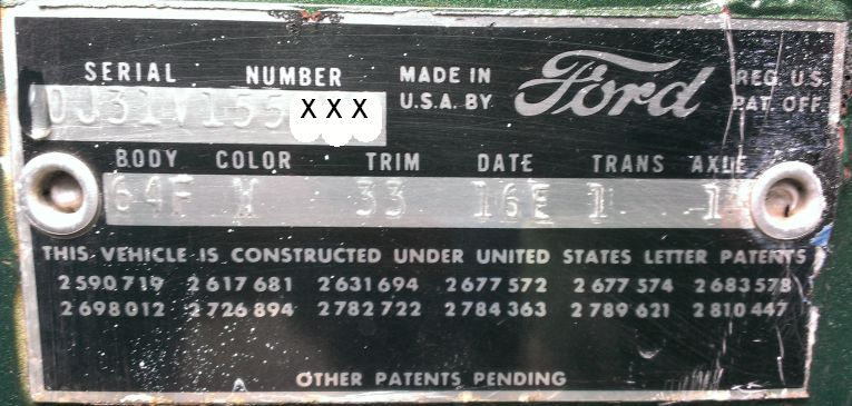 1960 Ford body data plate