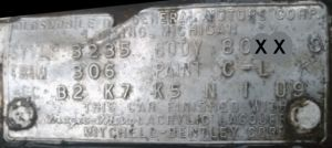 1960 Oldsmobile Body Data Plate