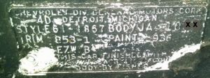 1961 Checy Body Data Plate