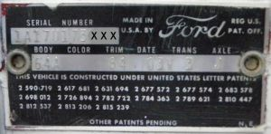 1961 Ford Body Plate Data