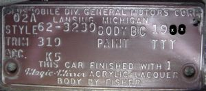 1962 oldsmobile body plate