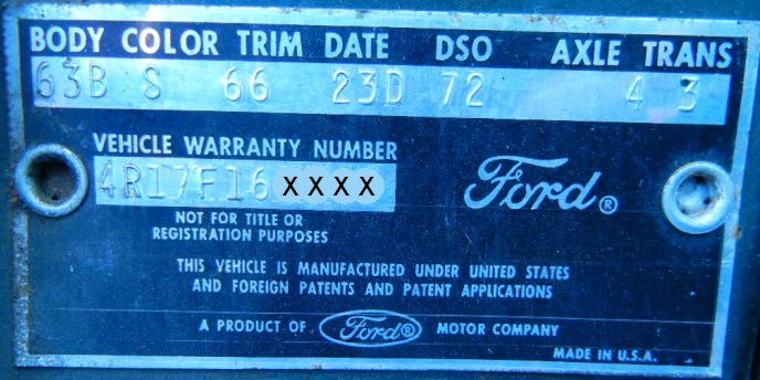 163 ford body data plate