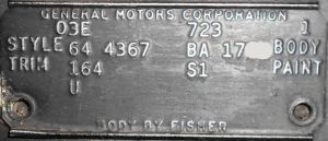 1964 Buick Body Plate