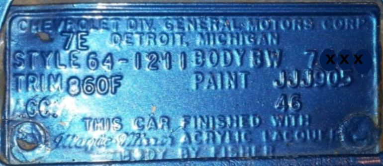 1964 Chevy Body Data Plate