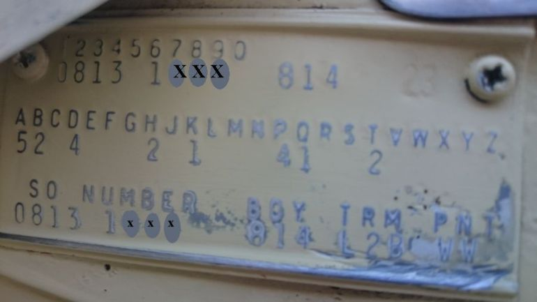 1964 Chrysler Body Plate