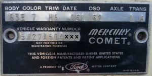 1965 Mercury Body Data Plate