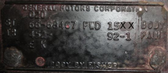 1966 Cadillac Body Plate