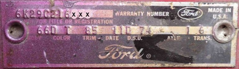 1966 ford body plate