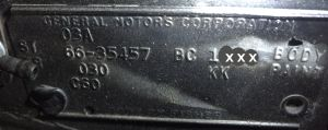1966 Oldsmobile Body Data Plate