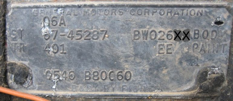 1967 Buick Body Plate