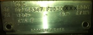 67 cadillac body plate