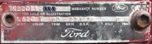 1967 ford Body Data Plate
