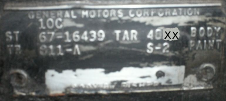 1967 Chevy body plate