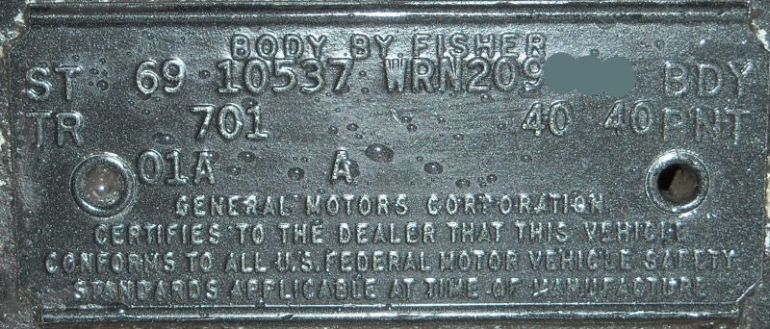 69 chevy Covair body plate