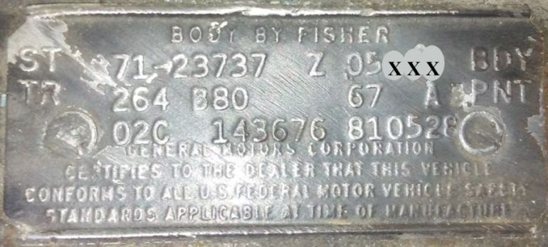 1971 Pontiac body data plate