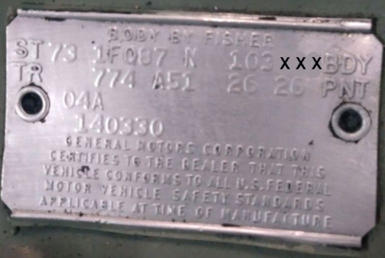 1973 Chevy Body Data Plate