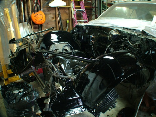 68 Firebird engine compartment restored
